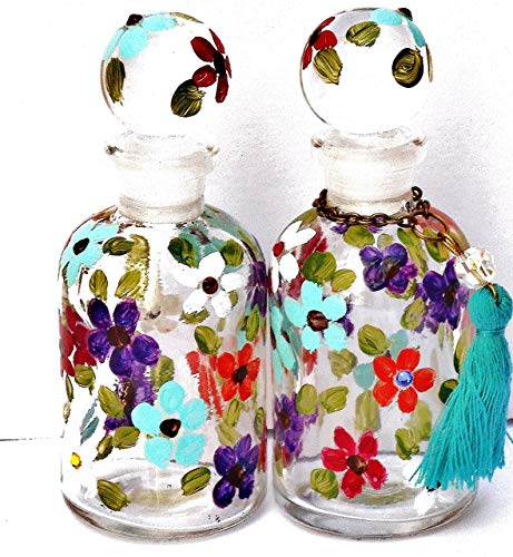 Miniature Mini Glass Perfume Bottle Apothecary Jar with Painted Flowers and Swarovski Crystal Rhinestones