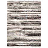 Safavieh Rag Rug Collection RAR126Q Hand-Woven Ivory and Charcoal Grey Flatweave Cotton Area Rug (9' x 12)