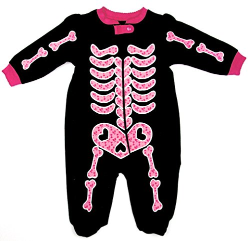 ['Scary Skeleton' Glow-in-the-Dark Footed Bodysuit Coverall (6-9)] (Glow In The Dark Skeleton Costumes)
