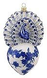 David Strand Kurt Adler Glass Proud Peacock Delft Blue Ornament, 6.5-Inch