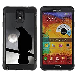 KROKK CASE Samsung Note 3 - crow night moon ominous dark deep - Funda Carcasa Bumper con Absorción de Impactos y Anti-Arañazos Espalda Slim Rugged Armor