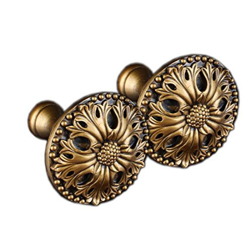 YYC 2 Pcs American Rural Medallion Drapery Curtain Holdback Resin Curtain Rod Coat Hanger (A Gold) - Medallion Scarf Holders