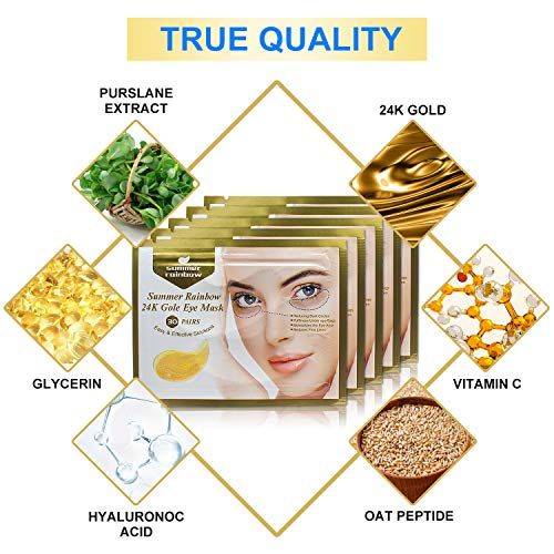 51us 1kvDXL - 30 Pairs under eye patches, Summer Rainbow eye mask, Under Eye Bags Treatment, Dark Circles Under Eye Treatment, 24K Gold Eye Treatment Masks Anti-Aging for Reducing Dark Circles Puffiness Wrinkles.