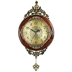 HENSE 14-inch Antique Retro Elegant Decorative Wood Clocks Ultra Mute Silent Quartz Movement Wooden Wall Clock with Swinging Pendulum HP06 (Brown L-Metal Dial)