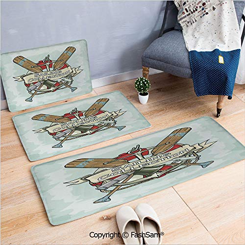 3 Piece Flannel Bath Carpet Non Slip Sailing Collection Yacht Club Bell Antiques Historical Items Long Glass Life Saver Front Door Mats Rugs for Home(W15.7xL23.6 by W19.6xL31.5 by W15.7xL39.4) ()