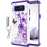 Galaxy Note 8 Case, Style4U [Shockproof] Flower Butterfly Studded Rhinestone Crystal Bling Dual Hybrid Armor Protective Case for Samsung Galaxy Note 8 with LED Keychain Flashlight [White / Purple]