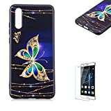Funyye Relief Rubber Case for Huawei P20,Stylish Gold Butterfly Pattern Soft Silicone TPU Gel Cover for Huawei P20,Slim Fit Shockproof Non Slip Back Cover Smart Shell Protective Case for Huawei P20 + 1 x Free Screen Protector