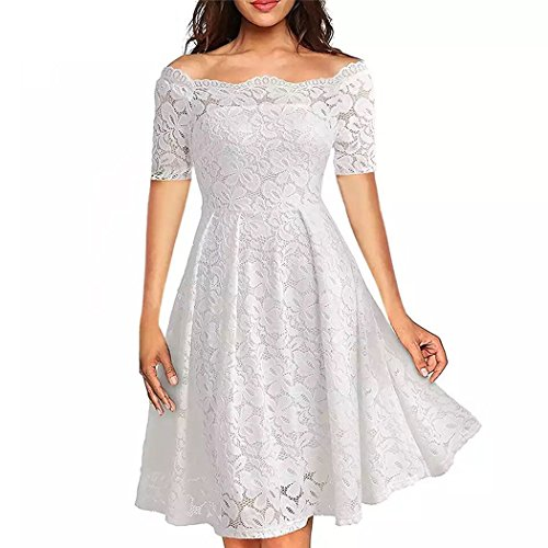 Dress Shoulder Womens Lace White Off COSYOU Cocktail Swing Vintage Dress Formal Formal HgwTXnqx