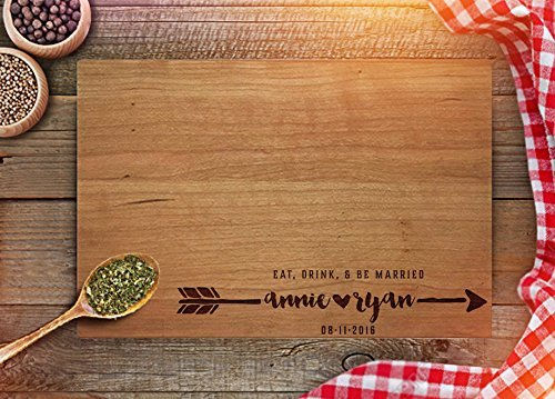 Personalized Cutting Board - Custom Wedding Gifts - Engraved Cutting Board - Eat Drink Be Married - Newly Weds Gift (Gift Drinks Engraved)