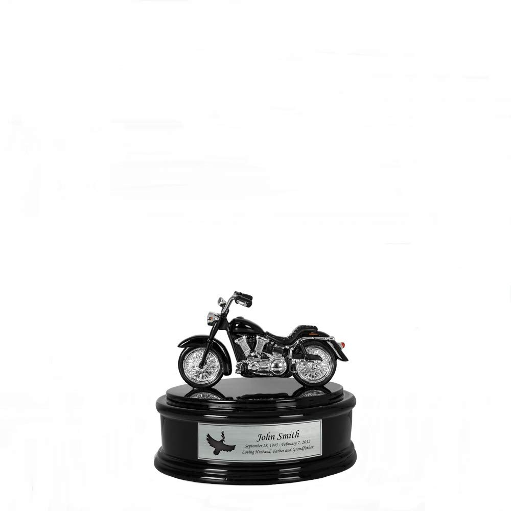 Perfect Memorials Custom Engraved Small Black Chrome Motorcycle Cremation Urn