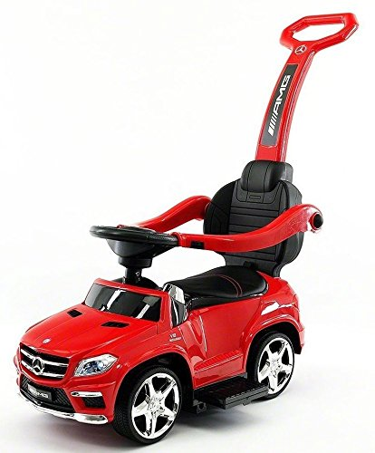 Luxury Mercedes GL63 Kids Convertible Ride-On Push-Car and Rocking Chair includes Leather Seat, Aux Plug-in | RED