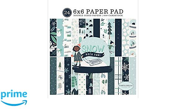 Green Cream Blue Grey Carta Bella Paper Company CBSMF108023 Snow Much Fun 6x6 Pad Paper Teal Navy