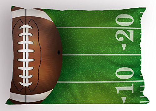 Lunarable Boy's Room Pillow Sham, American Football Field and Ball Realistic Vivid Illustration College, Decorative Standard King Size Printed Pillowcase, 36 X 20 Inches, Green Brown White by Lunarable (Image #2)