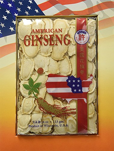 Hsu's Ginseng Cultivated American Ginseng Roots Slices (4 oz = 113 gm / box), with one free single American ginseng tea bag, 126-4, 126.4