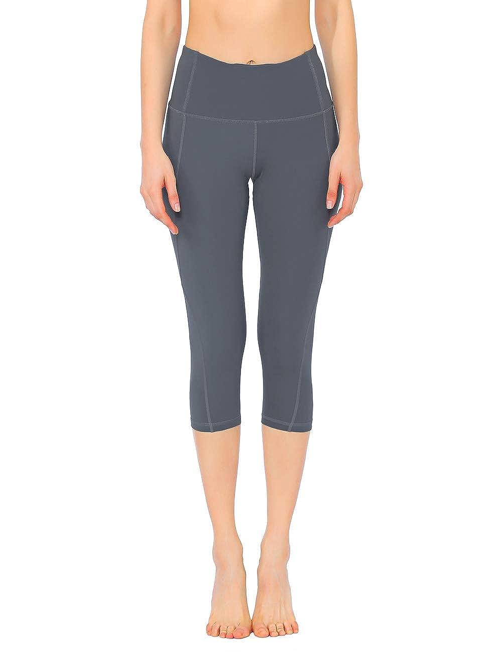 Rocorose Womens Yoga Pants High Waist Power Flex Pockets Workout Running Fitness Leggings
