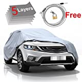 KAKIT Car Cover Waterproof All Weather SUV 5 Layers SUV Car Cover Windproof Breathable UV Protection Durable for Outdoor Indoor, Fits up to SUV 180