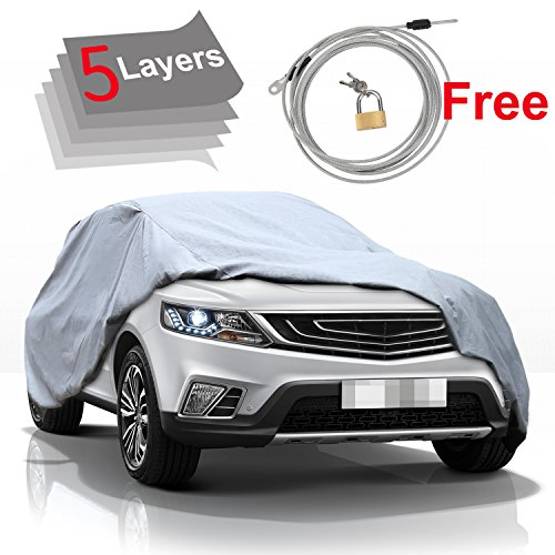 - KAKIT 5 Layer Car Cover SUV Cover Durable Waterproof Windproof for Summer Outdoor, Rain, Dust, Sun UV All Weather Prevention, Windproof Ribbon & Anti-Theft Lock, Fits up to 180