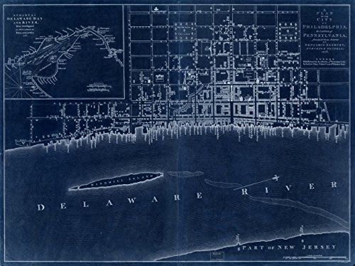18 x 24 Blueprint Style Reproduced Old Map of: 1776A plan of the city of Philadelphia, the capital of Pennsylvania, from an actual survey. by Easburn, Benjamin - AndrŽ, Peter - Name Capital Pennsylvania