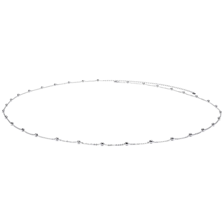 925 Sterling Silver Sexy Beach Waist Chain Minimalist Beach Body Belt Chain Beaded Belly Chain for Women Girls