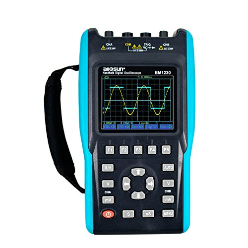 all-sun 2 in 1 Handheld Oscilloscope with Color Screen Dual Channel Scope Muti Meter 25MHz ()