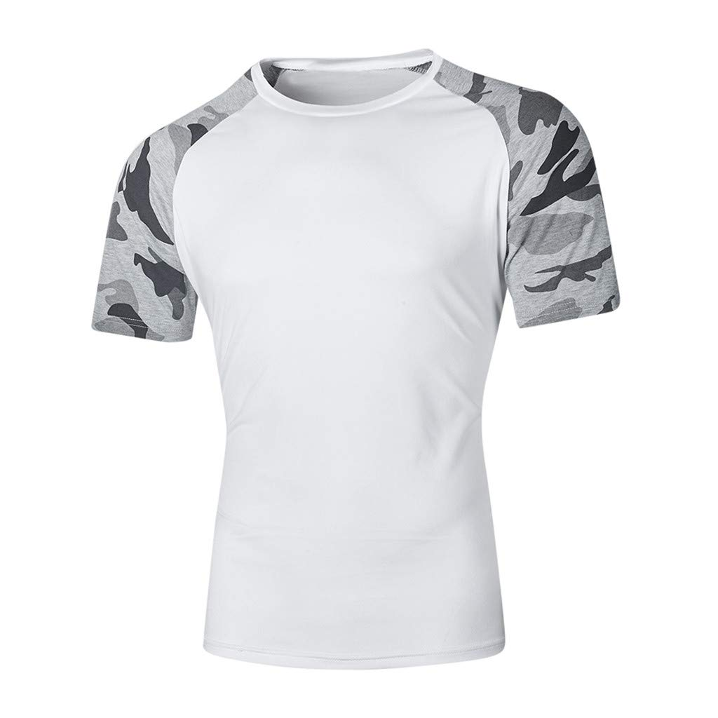 YOMXL Mens Camo T Shirt Camouflage Printed Short Sleeve Tops Classic Patchwork Hipster Tee