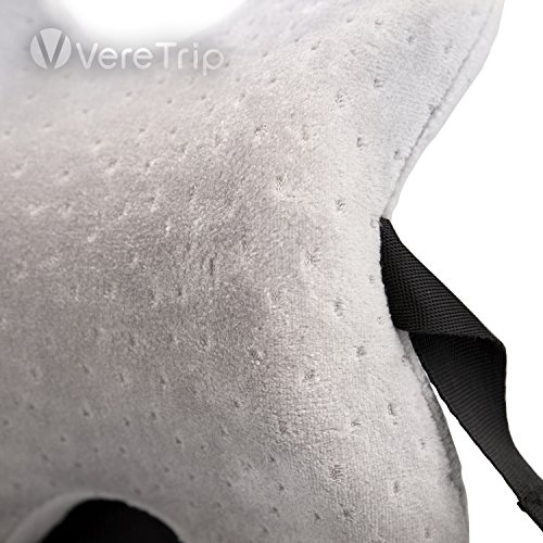VereTrip Memory Foam Travel Neck Pillow, Patented Design for Airplanes, Cars, Buses, Trains, Office Napping (Gray)