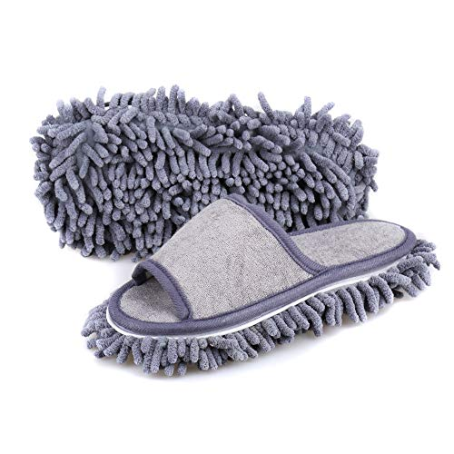 Friendly House Women's Microfiber Floor Cleaning Mop Slippers with Terry Towel Fabric (Suitable for Women Size 7-9, Grey)