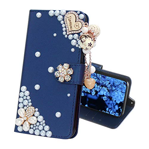 (IVY Galaxy S10 Wallet Cases [Synthetic Diamond Bling Pearl] Flip Cover for Samsung S10 - Blue & Love)
