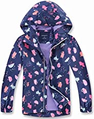 decathee Girls Boys Rain Jackets Lightweight Waterproof Raincoat Outdoor Hooded Breathable Windbreakers for Ki