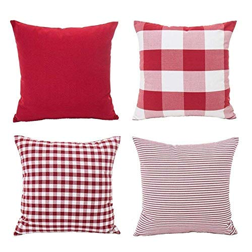 Christmas Throw Pillow Covers 18 x 18 Inches Set of 4, Red White Throw Cushion Cover Pillow Case Home Holiday Decor Cotton Canvas Checkers Plaids Strip Pillowcase for Sofa, Couch, (Red Stripe Pillowcase Set)