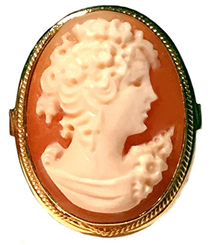 - Cameo Ring Reflection of Youth, Italian, Master Carved, Sterling Silver 18k Gold Overlay Size 6.75