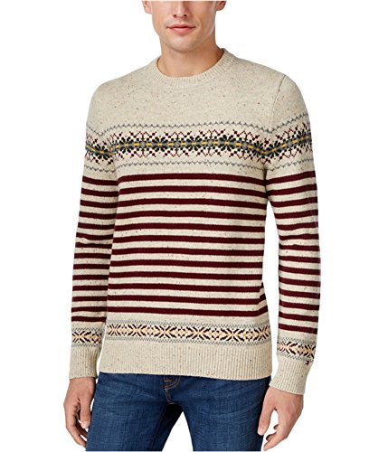 Tommy Hilfiger Nylon Sweater - Tommy Hilfiger Mens Dominick Fair Island Striped Pullover Sweater Taupe M