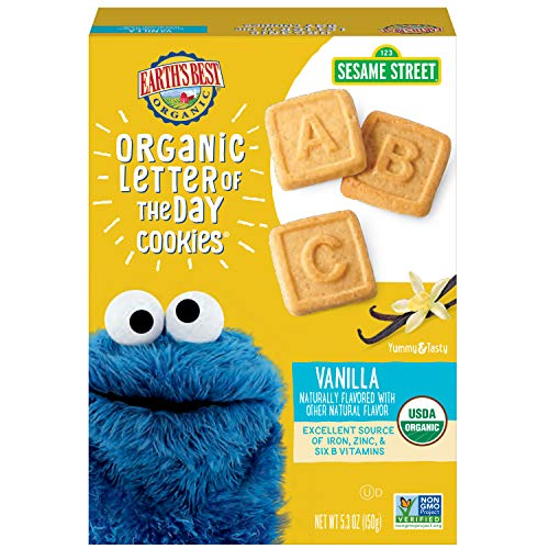 (Earth's Best Organic Sesame Street Toddler Letter of the Day Cookies, Very Vanilla, 5.3 oz. Box (Pack of 6))