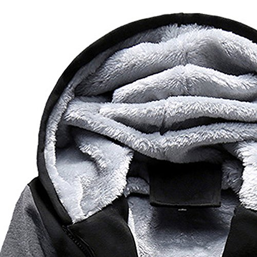 Hoodie Coat Sweater Zipper Zip Coat Sweatshirt Lined Outwear Hooded Outdoor HARRYSTORE Fur Hoody Jumper Top Jacket Men's Jacket Gray Fleece Parka tqAnwZ6