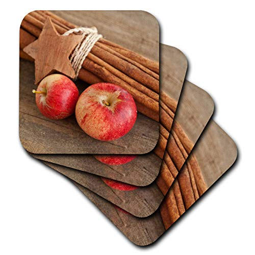 (3dRose Andrea Haase Christmas Photography - Winterly Still Life Photography With Apples, Cinnamon Sticks And Star - set of 8 Ceramic Tile Coasters (cst_318594_4))