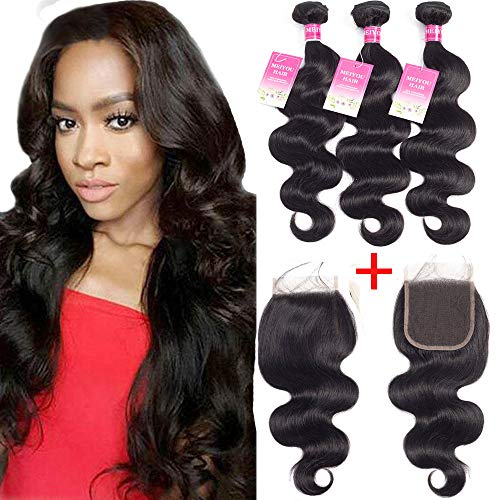 Brazilian Body Wave Bundles With Closure 8A Unprocessed Virgin Hair Body Wave Human Hair 3 Bundles With Closure Free Part (10.12.14+8)