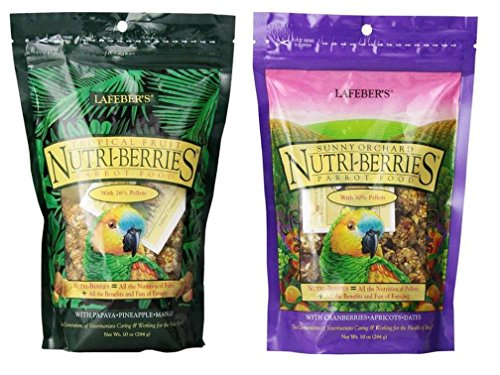 Lafebers Nutri-Berries Parrot Food 2 Flavor Variety Sampler Bundle: (1) Papaya/Pineapple/Mango, and (1) Cranberries/Apricots/Dates, 10 Oz. Ea. (2 Bags)