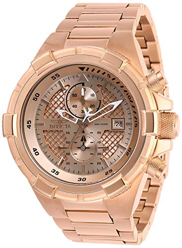 Invicta Men's Aviator Quartz Stainless-Steel Strap, Rose Gold, 26 Casual Watch (Model: 28128)