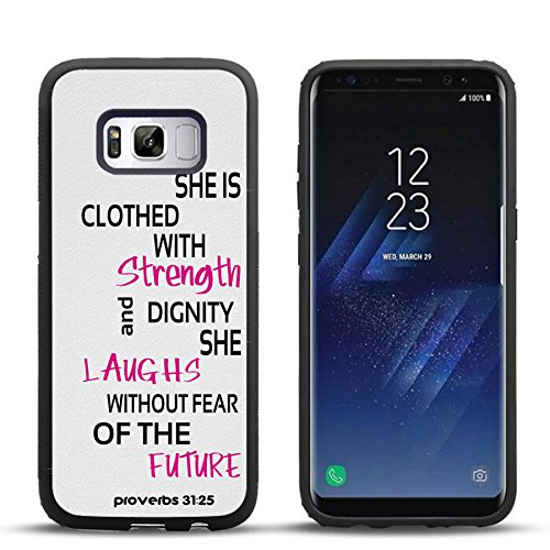 Samsung S8 Case Quote Proverbs 31:25, DOO UC Laser Technology for Protective Case for Samsung Galaxy S8 Black