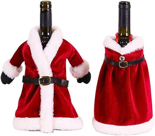 Amosfun 2 Piezas de Botella de Vino de Navidad Cubre decoración suéter de Punto Decoraciones de Botella de Vino de Santa Claus favores de Fiesta de Navidad Suministros Regalos: Amazon.es: Hogar