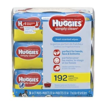 Amazon.com : HUGGIES Simply Clean Fresh Scented Baby Wipes, Soft Pack (3-Pack, 192 Sheets Total), Alcohol-Free, Hypoallergenic (Pack : Baby
