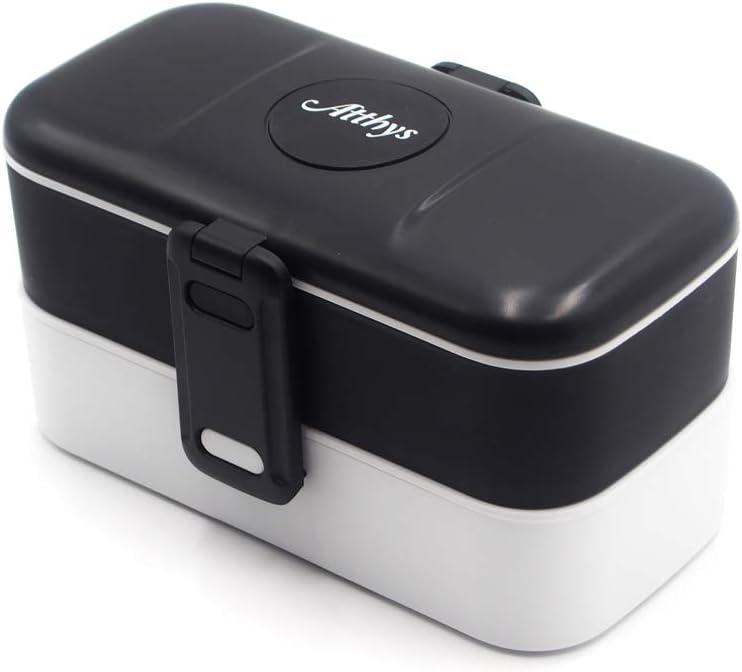 Atthys Lunch Box Negro | Tupper Design con 2 Cubiertos de Acero Inoxidable | Fiambrera Bento con 2 Compartimentos Estancos 1200 ml | Microondas y Lavavajillas | Bento Box Adultos o Niños