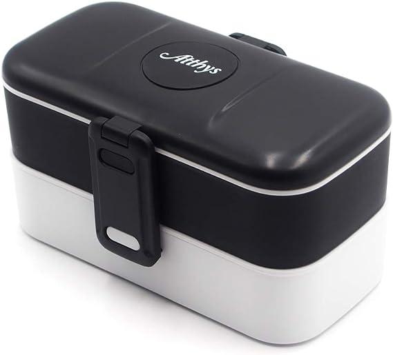 Atthys Lunch Box Negro   Tupper Design con 2 Cubiertos de Acero ...