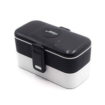 Atthys Lunch Box Negro | Tupper Design con 2 Cubiertos de Acero Inoxidable | Fiambrera Bento con 2 Compartimentos Estancos 1200 ml | Microondas y ...
