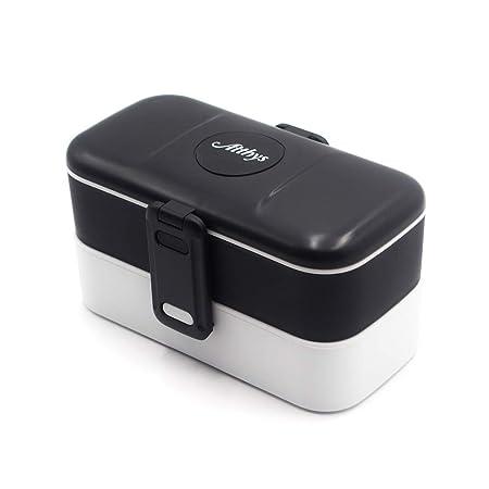 Atthys Lunch Box Negro   Tupper Design con 2 Cubiertos de Acero Inoxidable   Fiambrera Bento con 2 Compartimentos Estancos 1200 ml   Microondas y ...