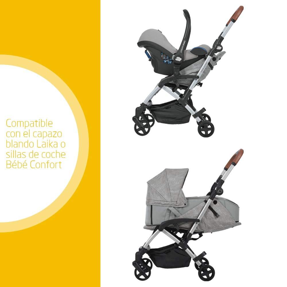 Bébé Confort LAIKA 2 Nomad Grey - Cochecito super urbano, ultracompacto y ligero, homologado para viajar, desde 0 meses hasta 3,5 años, color gris