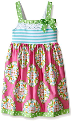 Denim And Poplin Skirt (Bonnie Jean Big Girls' Knit Stripe to Poplin Printed Skirt Dress, Fuchsia,)