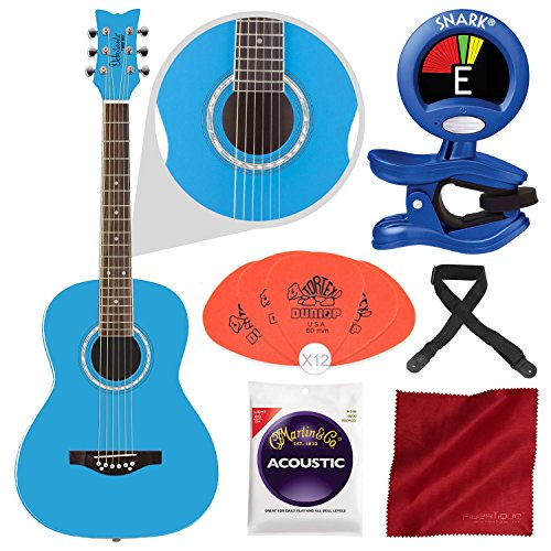 Daisy Rock Debutante Junior Miss Acoustic Cotton Candy Blue with Chromatic Tuner, Guitar Pick, and Accessory Bundle