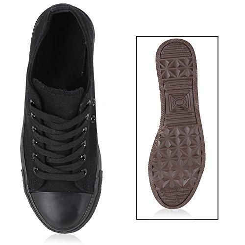 Stiefelparadies Unisex Damen Herren Sneaker Low Denim Sneakers Freizeit Schnürer Sportschuhe Schnürschuhe Turnschuhe Stoffschuhe Flandell Schwarz Carlet