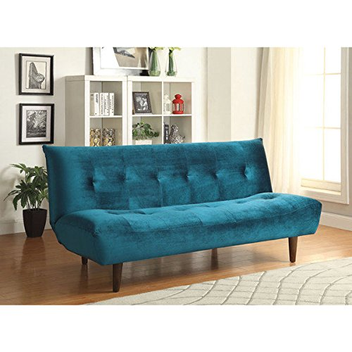 Blue Velvet Transitional-Style Sofa Bed | Tapered Wood Legs – Assembly Required